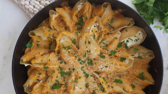 Ricotta Stuffed Shells with Pumpkin Alfredo | PBS Food
