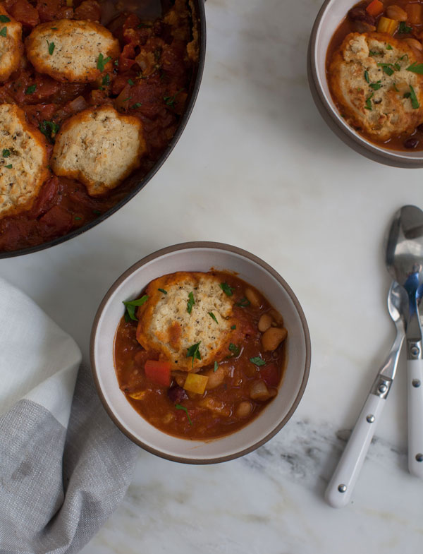 Vegetarian Chili with Cornbread Dumplings is a weeknight meal that won't weigh you down, but it is still a hearty meal.