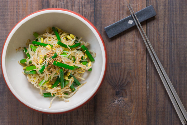 Bean Sprouts Garlic Scape Salad is a quick Asian side dish with a crunchy texture and toasted sesame seeds.