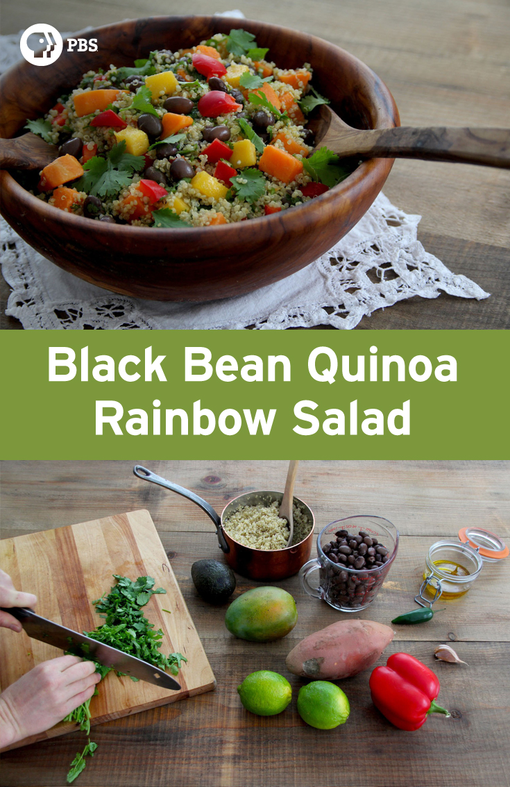 This Black Bean Quinoa Rainbow Salad recipe is a protein-rich salad that combines vibrant flavors such as mango, avocado, and cilantro.
