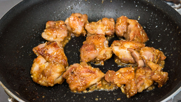 Garlic Miso Chicken only takes ten minutes to make, and features sake in the sauce.