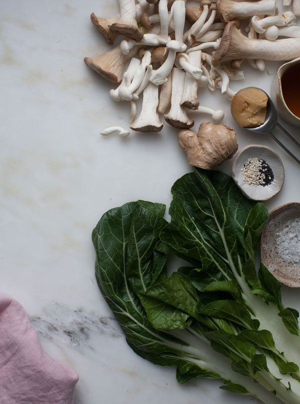 Miso Mushroom Stir-fry features a medley of miso, bok choy and brown rice.