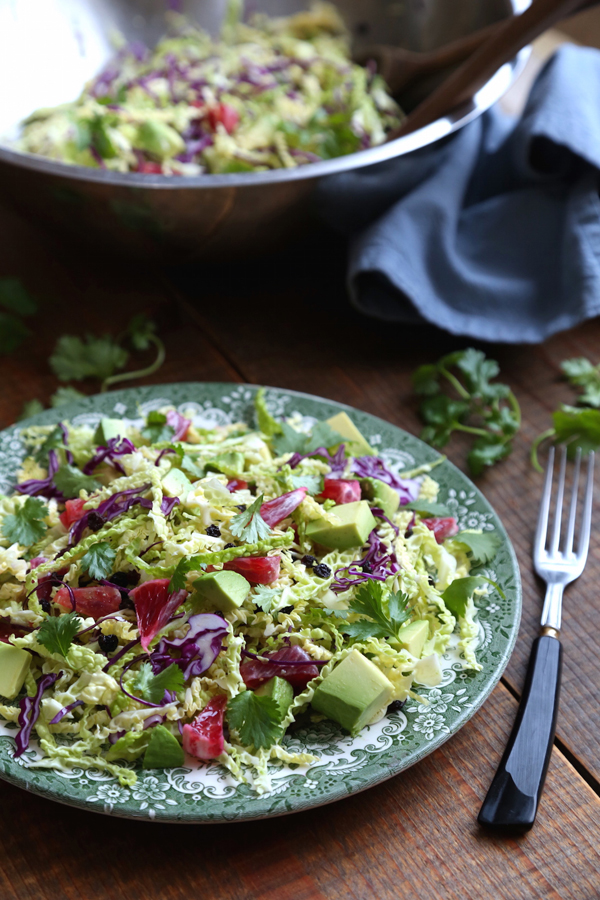 This Savoy Cabbage Salad recipe is healthy and colorful with avocado and blood oranges.
