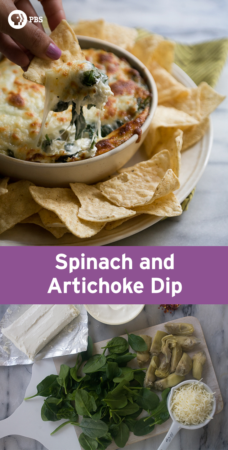 Spinach and Artichoke Dip is the perfect quick appetizer for watching football and parties that combines artichoke hearts, Worcestershire, cream cheese and hot sauce.