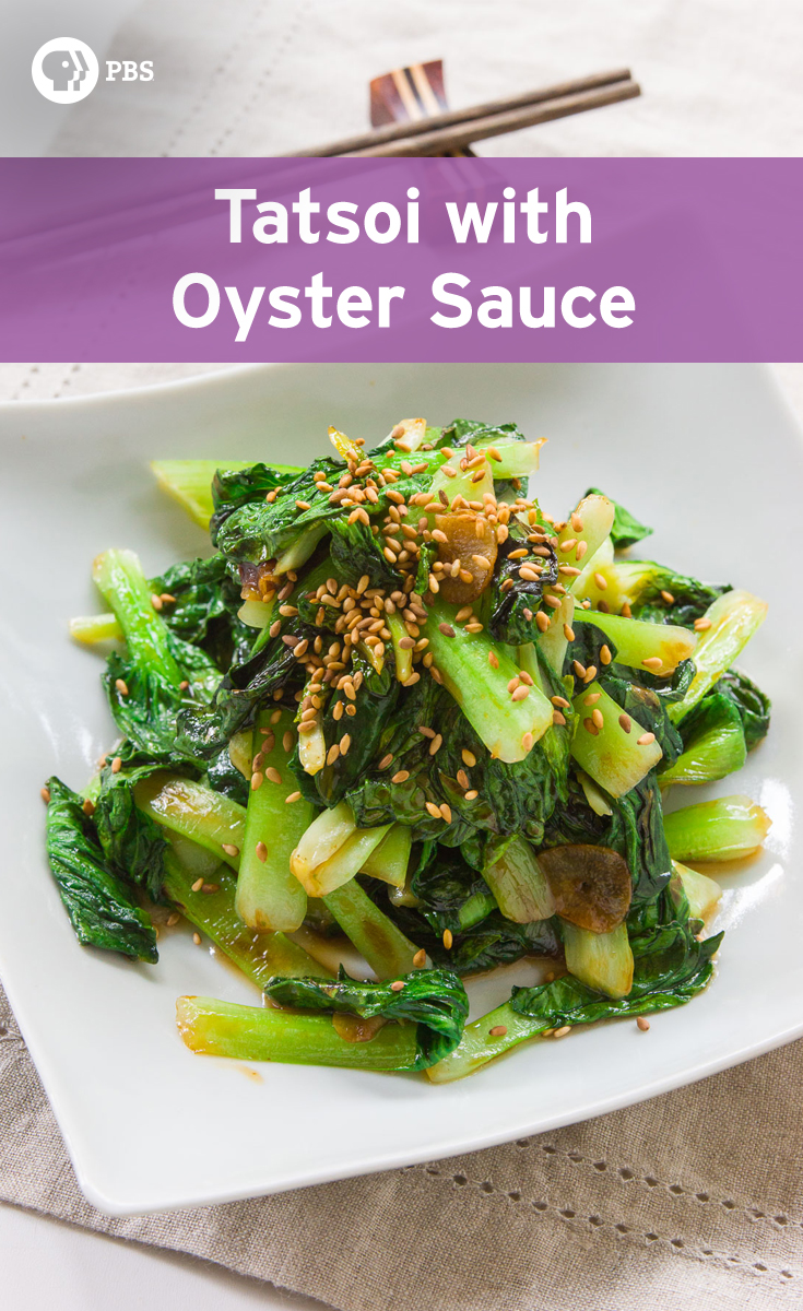 Tatsoi with Oyster Sauce is a Chinese stir-fry recipe that is quick to prepare.