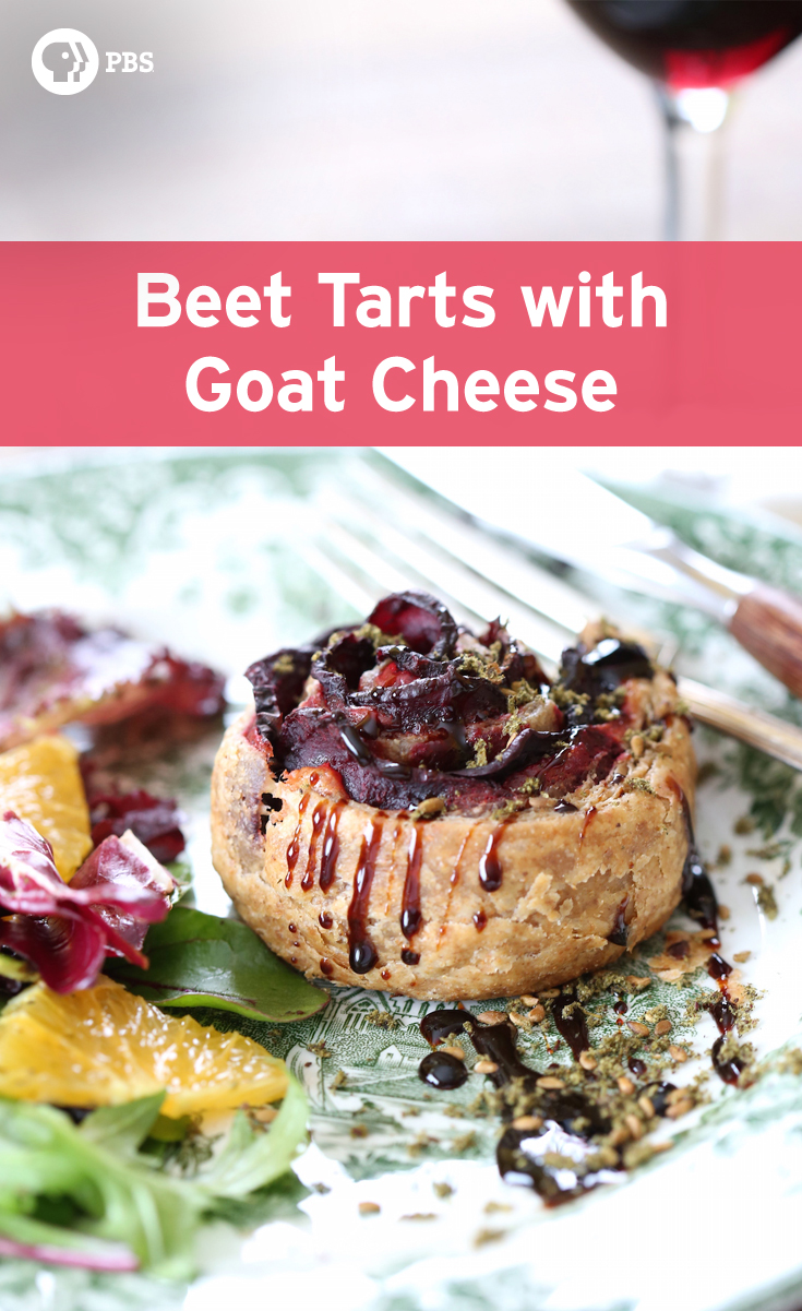 These Beet Tarts with goat cheese and caramelized onions are the savory version of apple rose tarts.