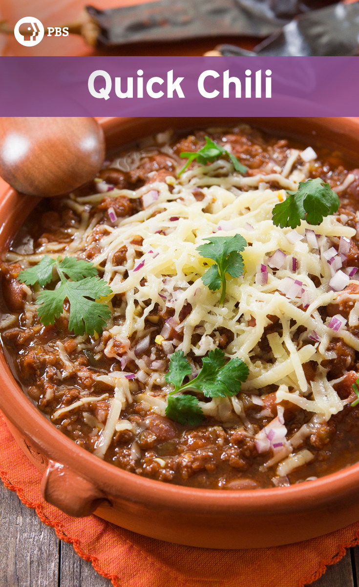 Make Quick Chili recipe using caramelized onions and homemade chili powder.