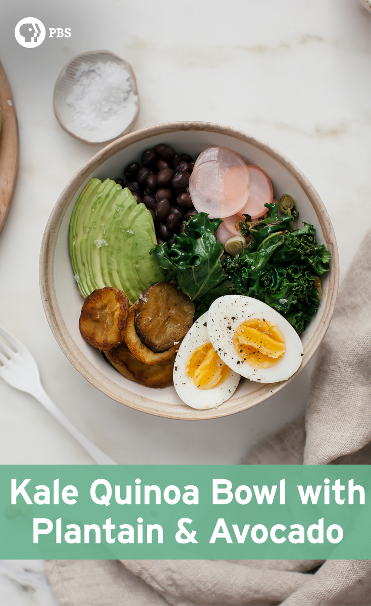 This Kale Quinoa Bowl recipe features plantains, avocado, pickled radishes, and a hard-boiled egg for a nutrient-dense meal.