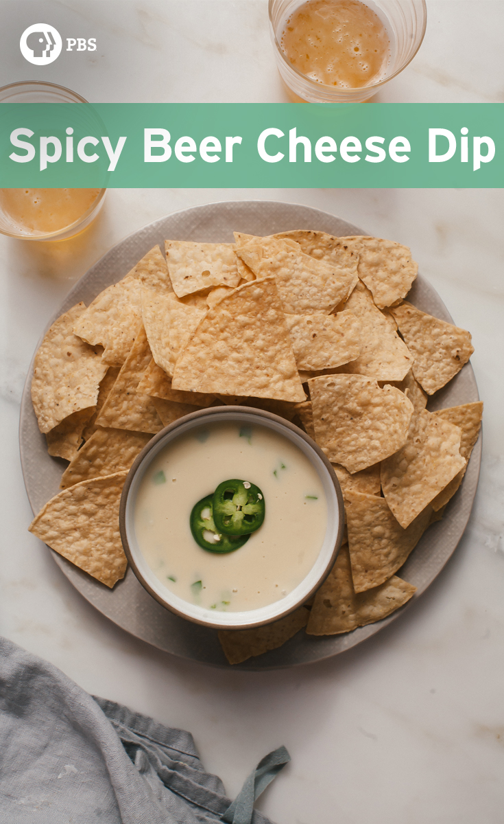 This Spicy Beer Cheese Dip is spiked with jalapeño and light beer, and is made with a roux.