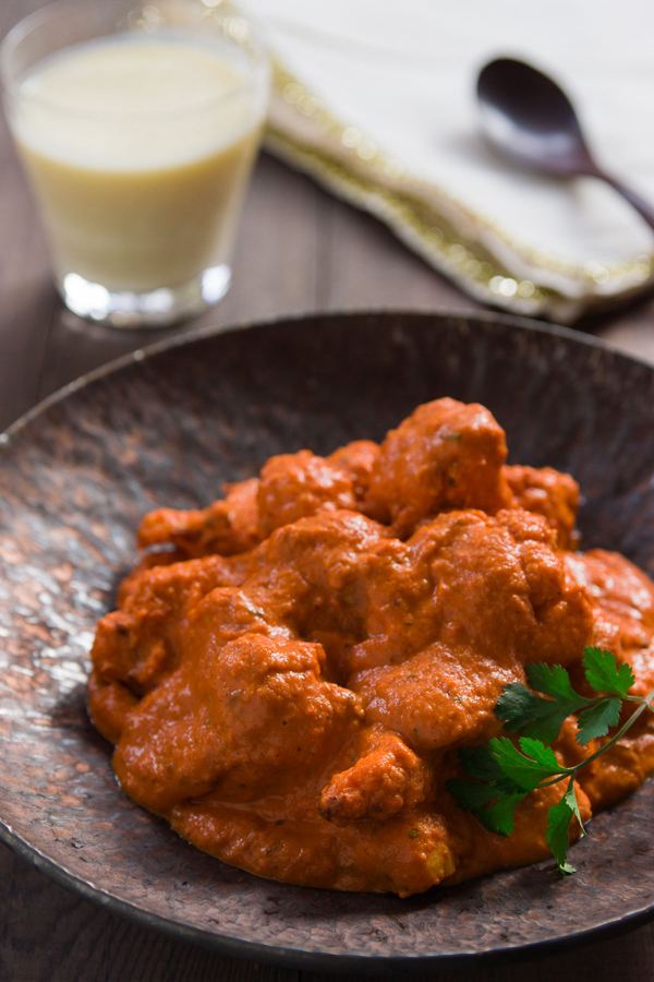 Butter Chicken is an Indian classic, and this vegan version is similar to tomato and cauliflower curry.