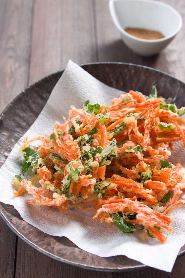These Crispy Carrot and Mint Fritters feature North African spices for a light, fragrant appetizer.