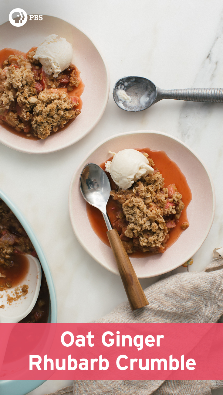 This Oat Ginger Rhubarb Crumble recipe is simple with a warming oat topping.