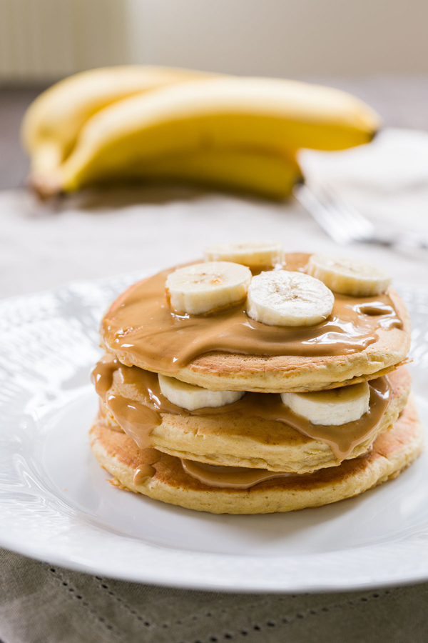 Peanut butter banana pancakes recipe fresh tastes blog pbs food these moist and fluffy pancakes are layered with peanut butter and fresh bananas ccuart Gallery