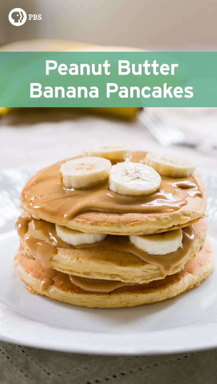 These moist and fluffy pancakes are layered with peanut butter and fresh bananas.