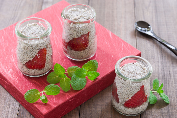 Strawberry Chia Parfait is a healthy breakfast with the texture of tapioca pearls after soaking the Chia seeds.