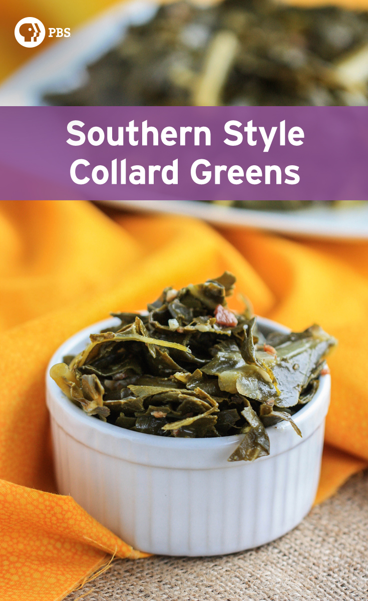 Slow cook this Southern style collard greens recipe for a down home dinner idea. This side dish recipe is easy to prepare.