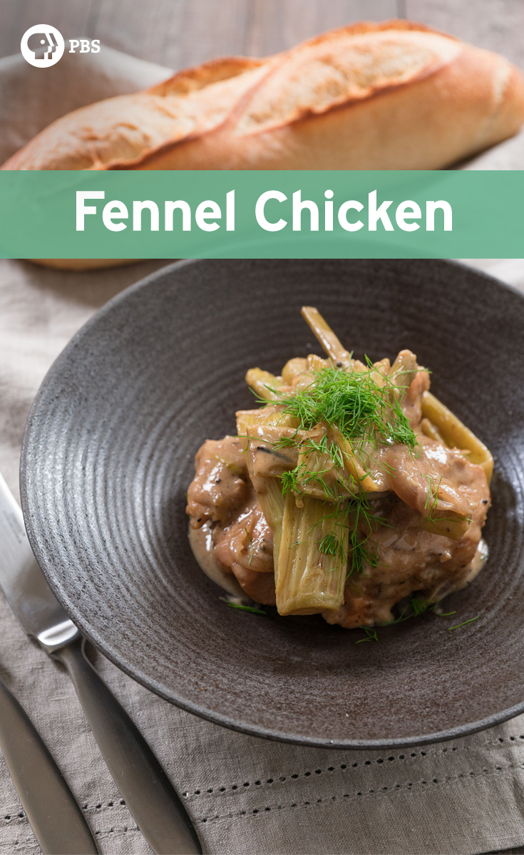 This Fennel Chicken recipe is a stew where the fennel is braised with red onions, chicken thighs and wine.