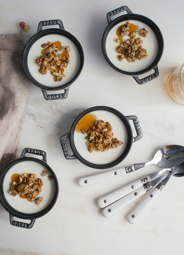 Kefir Panna Cotta is similar to yogurt and granola with a soft texture.
