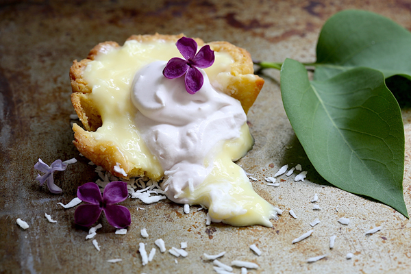 Lilac Coconut Cream Tarts feature a shortbread dough crust for a buttery, cookie-like tart base.