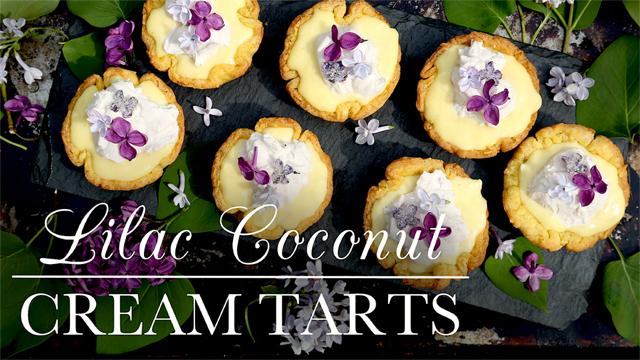 Lilac Coconut Cream Tarts recipe