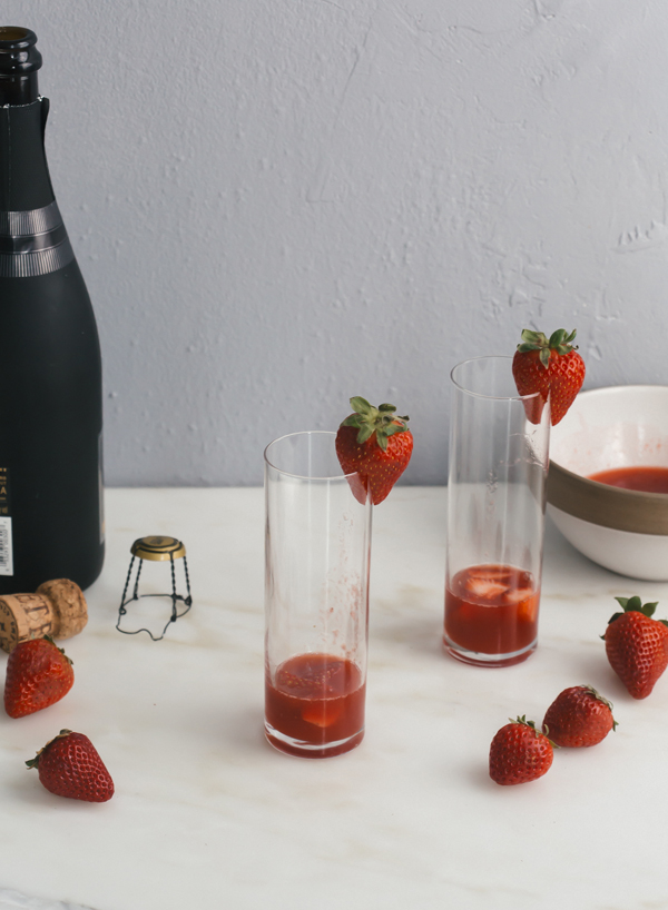This bellini starts with a rhubarb strawberry puree that's strained then combined with very cold sparkling wine or champagne.