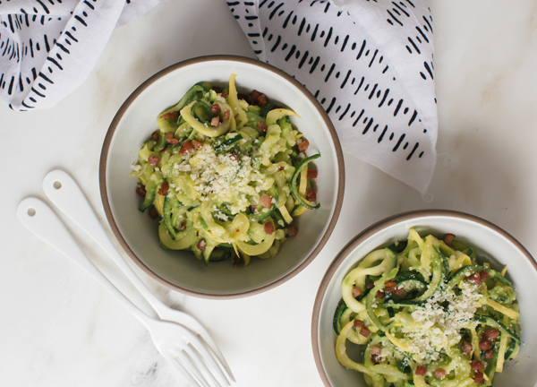 Put zucchini through a spiralizer to make Zoodles (zucchini noodles) with pea pesto, panchetta and parmesan.