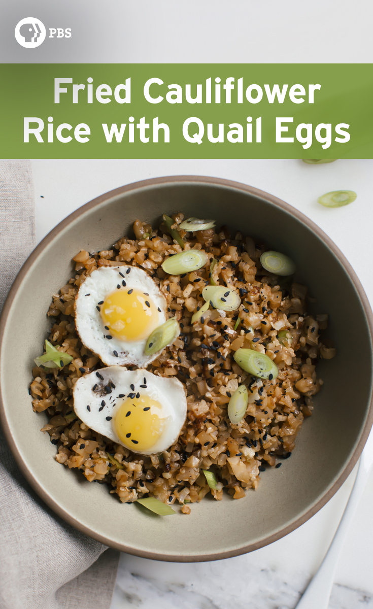 This Fried Cauliflower Rice with Quail Eggs is a simple weeknight meal that is super healthy.