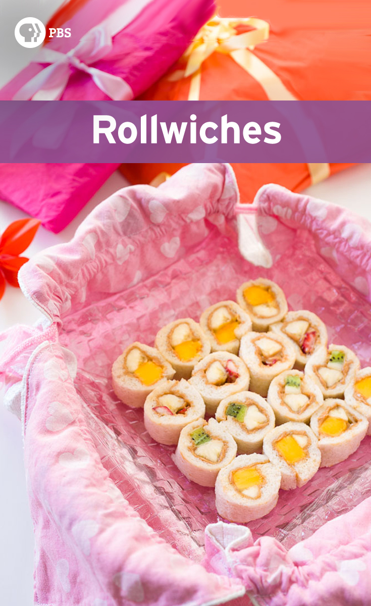 Rollwiches are kid-friendly, bite-sized sandwiches that are rolled like sushi and filled with an assortment of fruit and peanut butter.