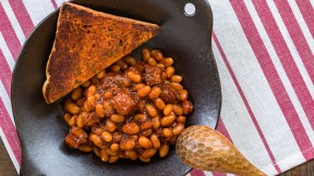 The Kimchi Baked Beans are the perfect blend of sweet and savory, a Korean twist on a classic dish.