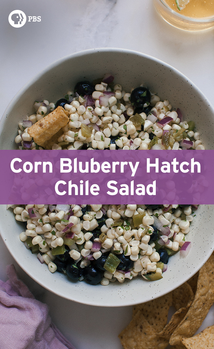 This Hatch Chile Blueberry Corn Salad recipe is easy to throw together for a summer snack.