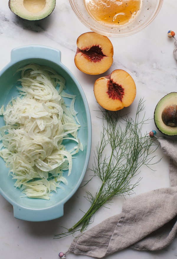 This Fennel Salad recipe with peaches and avocado only requires a mandolin to make this light, yet filling summer salad.