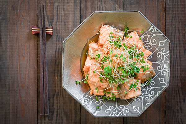This Ginger-Marinated Poached Salmon comes together in about 10 minutes for a quick and healthy meal.