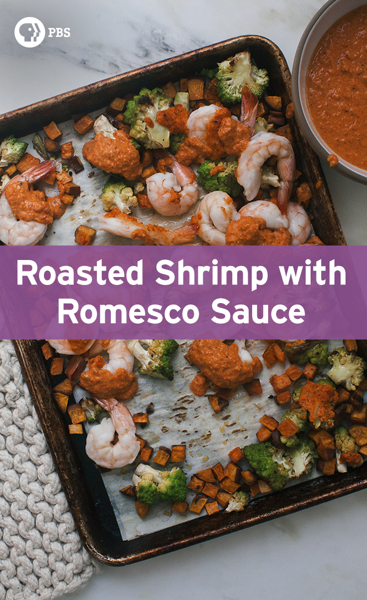 Sheet-Pan Shrimp and Cauliflower with Romesco Sauce is an easy, weeknight dinner recipe.