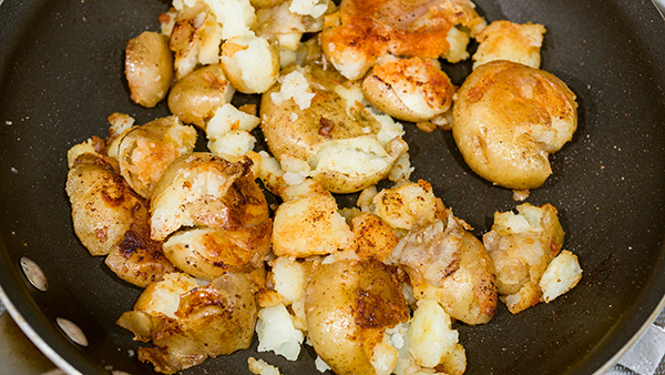 Smashed Potatoes recipe creates conduits for the butter soy sauce flavors to enter when cooking.