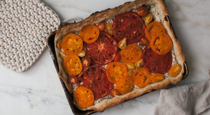 Cheesy Heirloom Tomato Tart Recipe