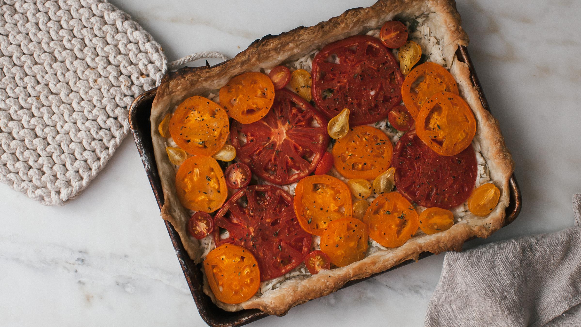 Cheesy Heirloom Tomato Tart Recipe   PBS Food