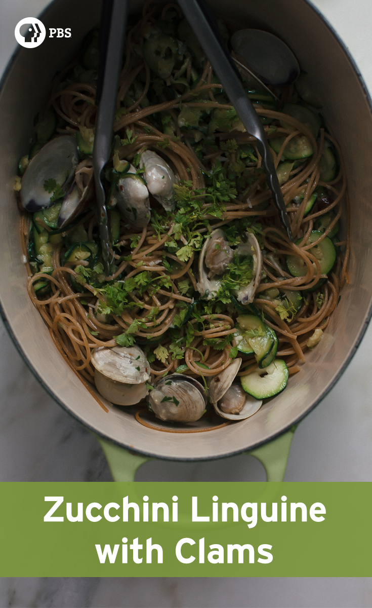 Zucchini Linguine is a simple weeknight pasta meal featuring clams and Pecorino Romano.