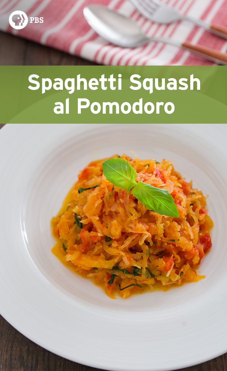 Spaghetti Squash al Pomodoro looks like pasta for a cross-seasonal dish.