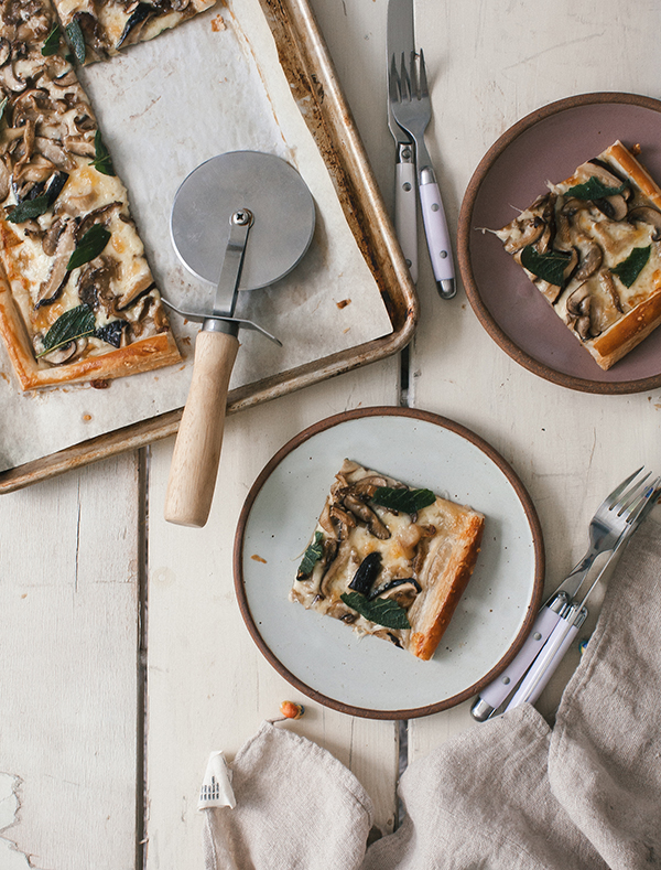 This Three-Cheese Mixed Mushroom Tart is a simple one-sheet dinner made with puff pastry.
