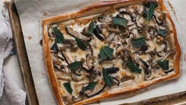 Three-Cheese Mixed Mushroom Tart Recipe