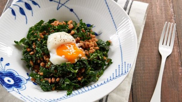 Savory Kale and Farro Breakfast Bowl