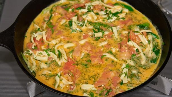 spring onion salmon frittata