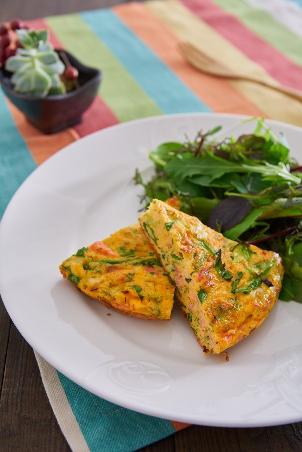 spring onion and salmon frittata