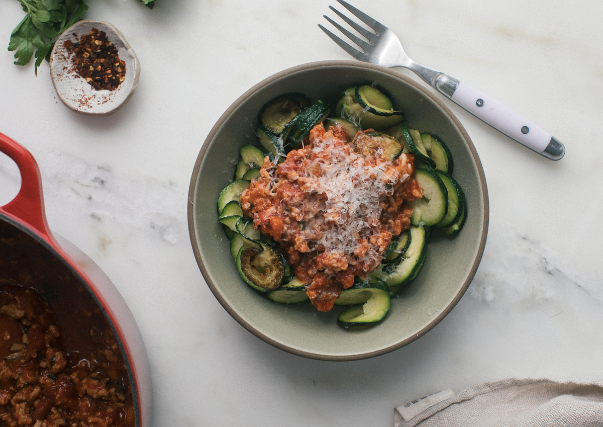 Loving the Spiralizer Trend? Let Chicken and Veggie Bolognese Complement Your Zucchini Noodles