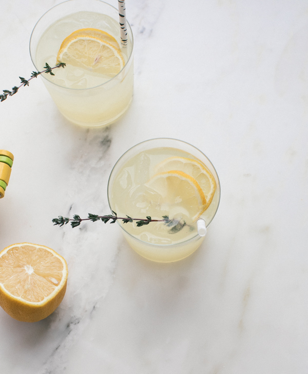 lemon and thyme vodka spritz