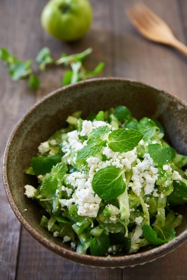 green tomato mint salad