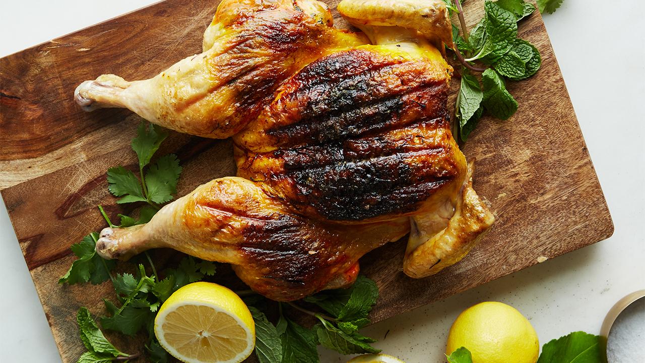 spatchcocked saffron chicken recipe pbs food