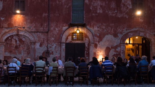 Dining as a group in Italy