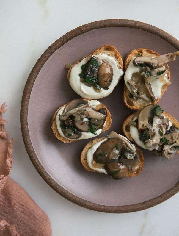 mushroom toast whipped ricotta
