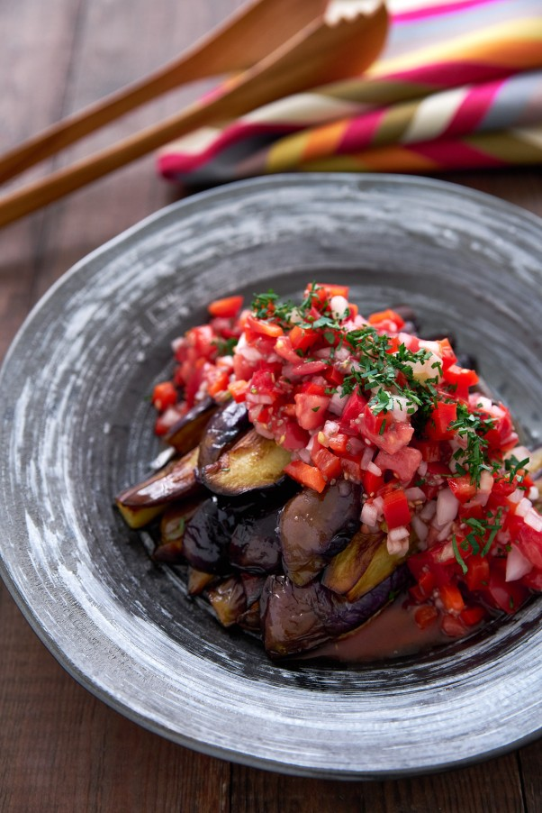 Eggplant Salad with Red Pepper Relish